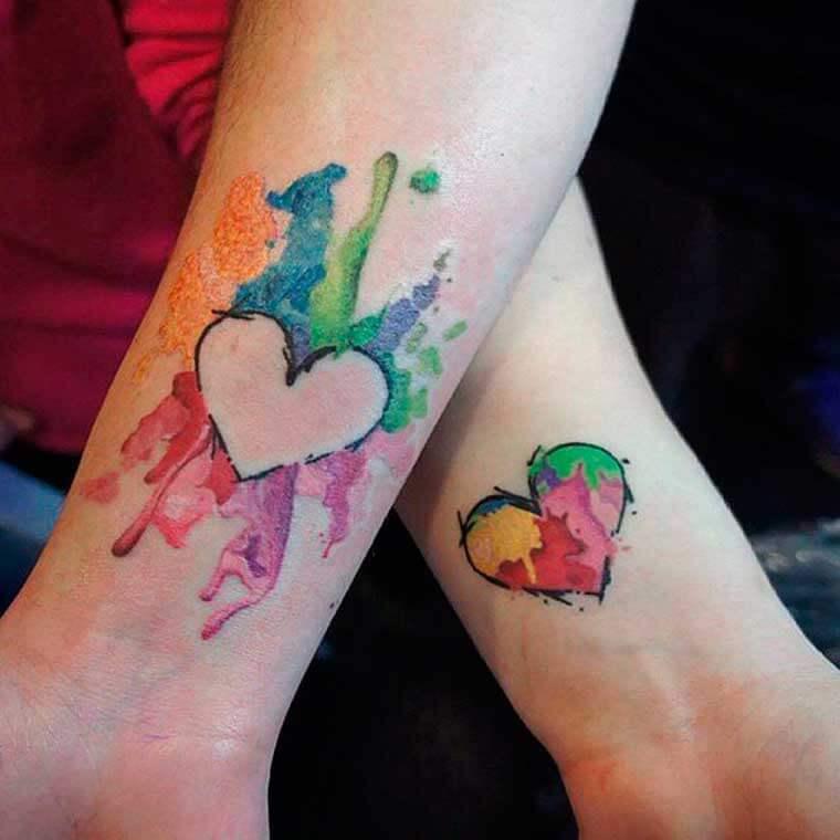Татуировка парная на предплечье - Абстракция сердца