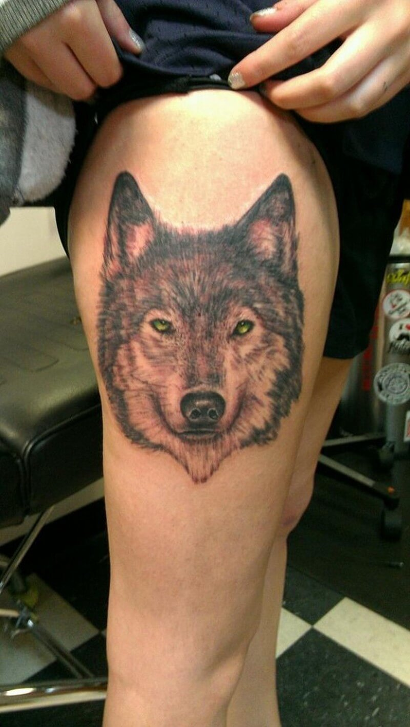 Эскизы тату на ногу мужские волк